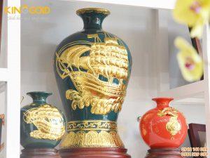 Bình gốm phong thủy mai bình tích lộc phiên bản men lam chàm cổ